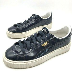 Puma Womens Basket Platform Patent Sneakers Black